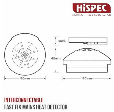 INTERCONNECTABLE FAST FIX MAINS HEAT DETECTOR WITH 9V BACKUP BATTERY INCLUDED